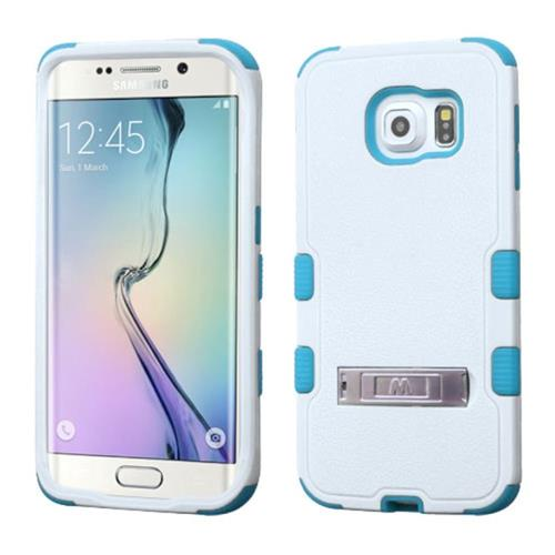 Insten Hard Hybrid Rubber Silicone Case w/stand For Samsung Galaxy S6 Edge, White/Blue