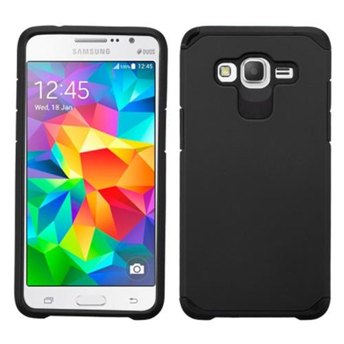 Insten Hard Hybrid Rubber Coated Silicone Case For Samsung Galaxy Grand Prime, Black