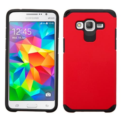 Insten Hard Dual Layer Rubber Silicone Case For Samsung Galaxy Grand Prime, Red/Black
