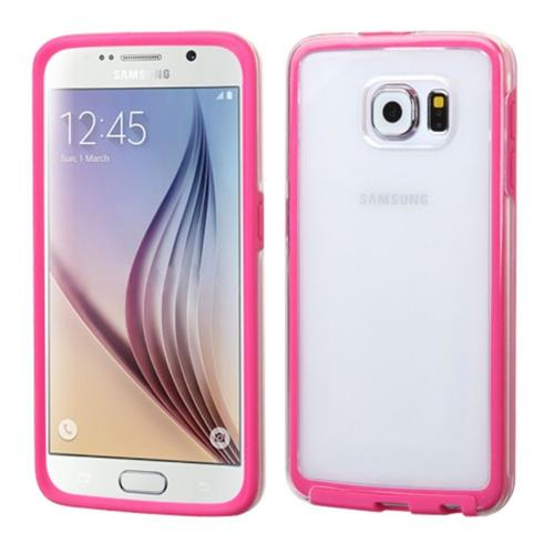 Insten Rubber Cover Case For Samsung Galaxy S6, Clear/Hot Pink