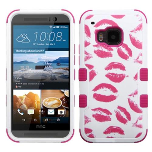 Insten Tuff Kisses Hard Dual Layer Rubber Coated Silicone Case For HTC One M9, Hot Pink/White