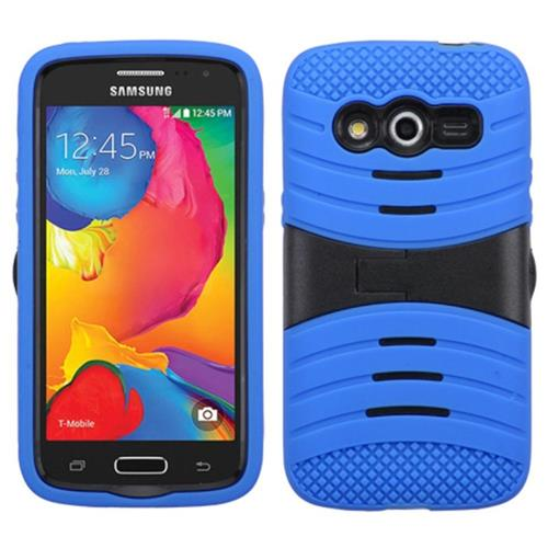 Insten Wave Symbiosis Skin Dual Layer Rubber Hard Case w/stand For Samsung Galaxy Avant,Blue/Black