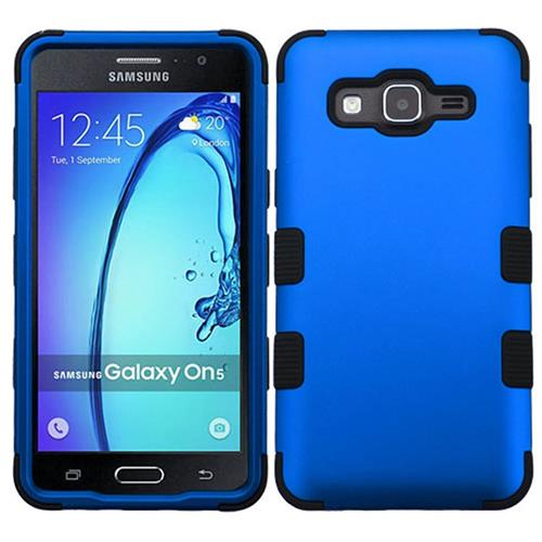 Insten Tuff Hard Hybrid Rubber Silicone Cover Case For Samsung Galaxy On5, Blue/Black