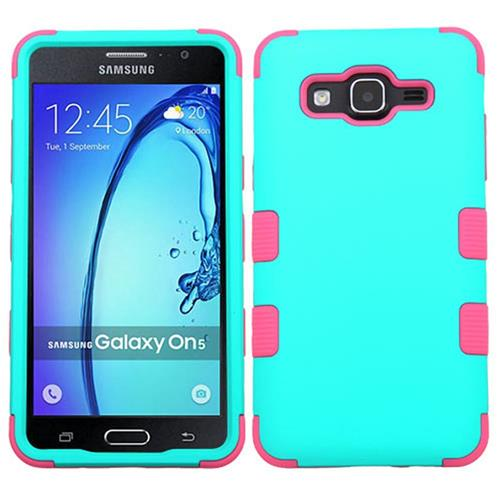 Insten Tuff Hard Dual Layer Rubber Coated Silicone Cover Case For Samsung Galaxy On5, Teal/Pink