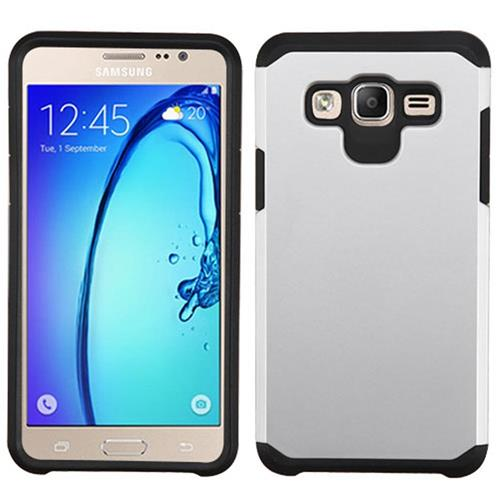 Insten Hard Hybrid Rubber Silicone Cover Case For Samsung Galaxy On5, Silver/Black