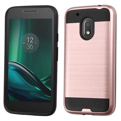 Insten Hard Hybrid TPU Case For Motorola Moto G4 Play, Rose Gold/Black