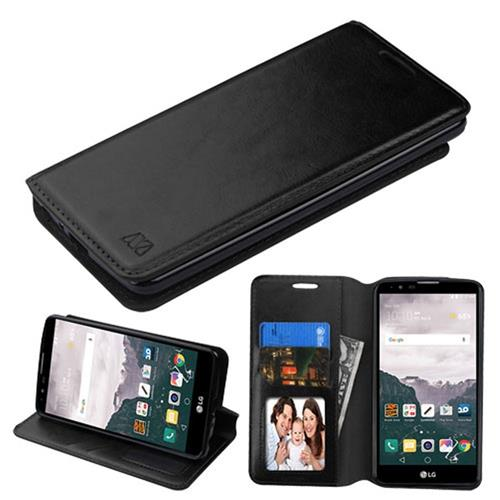 Insten Folio Leather Fabric Cover Case w/stand/card slot/Photo Display For LG Stylo 2 Plus, Black