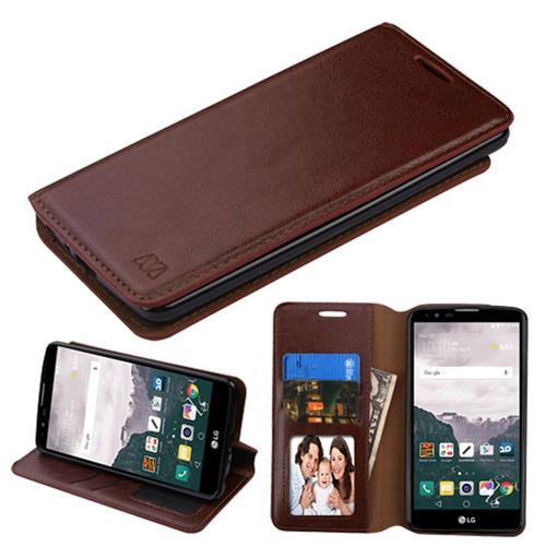 Insten Folio Leather Fabric Cover Case w/stand/card holder/Photo Display For LG Stylo 2 Plus, Brown