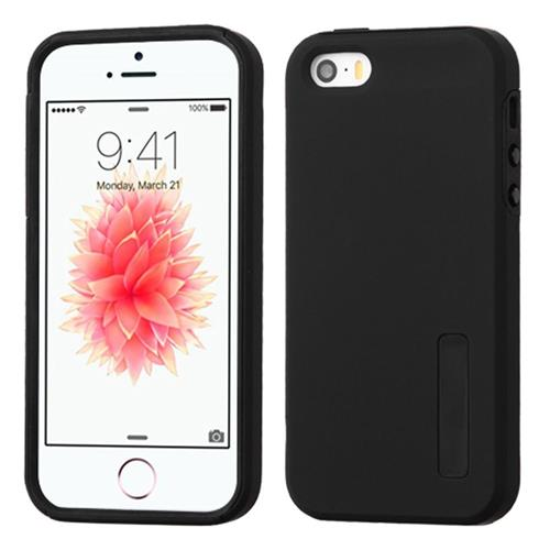 Insten Hard Hybrid Rubberized Silicone Case For Apple iPhone 5/5S/SE, Black