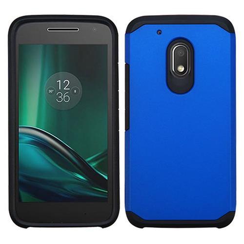 Insten Hard Hybrid Silicone Cover Case For Motorola Moto G4 Play, Blue/Black