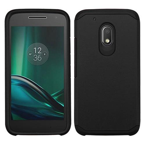 Insten Hard Dual Layer Rubberized Silicone Case For Motorola Moto G4 Play, Black