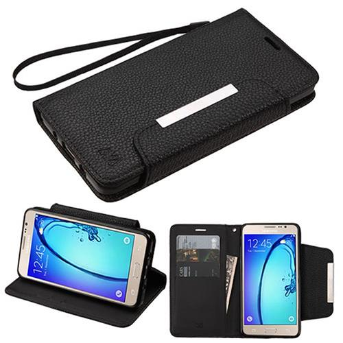 Insten Folio Leather Fabric Case Lanyard w/stand/card holder For Samsung Galaxy On5, Black