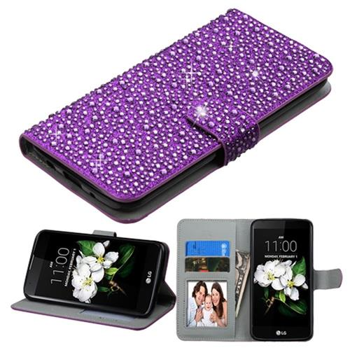 Insten Folio Leather Bling Cover Case w/stand/card slot/Photo Display For LG K7/K8, Purple