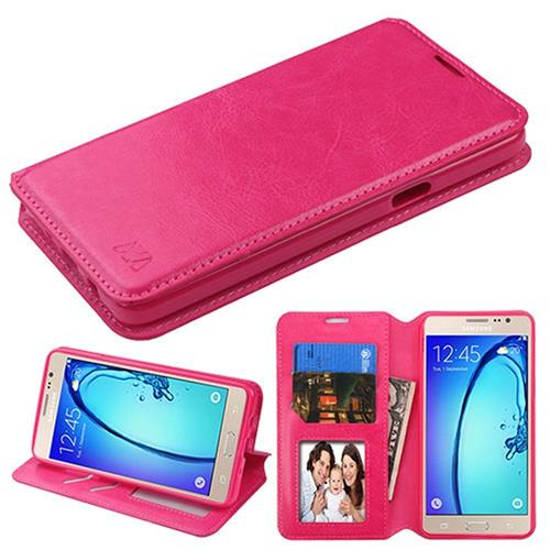 Insten Book-Style Leather Fabric Case w/stand/card holder For Samsung Galaxy On5, Hot Pink