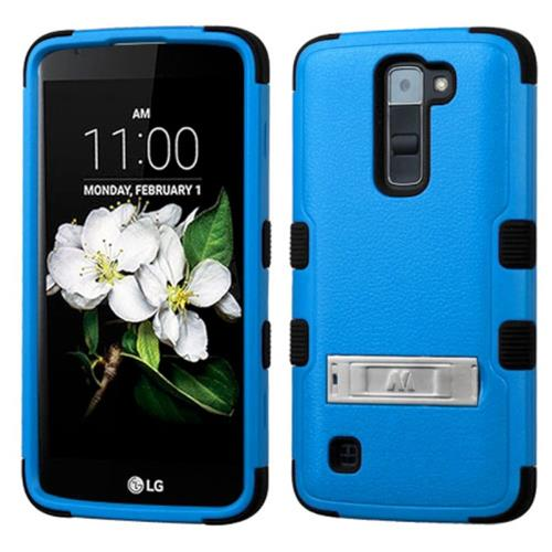 Insten Hard Hybrid Silicone Case w/stand For LG K7, Blue/Black