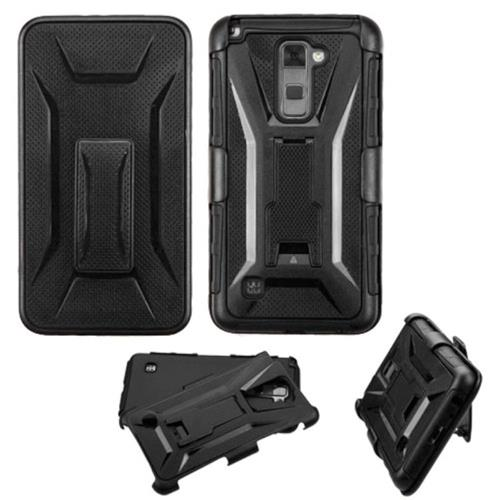 Insten Hard Hybrid Plastic Silicone Case w/Holster For LG Stylo 2, Black