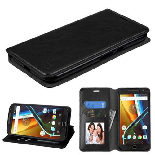 Insten Leather Fabric Case w/stand/card holder For Motorola Moto G4 PLUS,Black