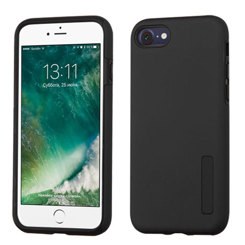 Insten Hard Hybrid Rubberized Silicone Cover Case For Apple iPhone 7/iPhone 8, Black