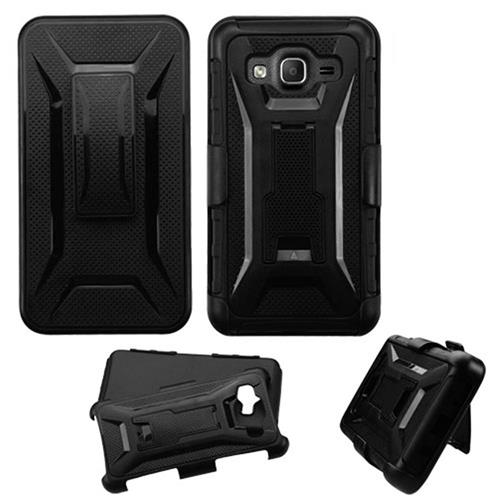 Insten Hard Hybrid Plastic Silicone Case w/Holster For Samsung Galaxy On5, Black