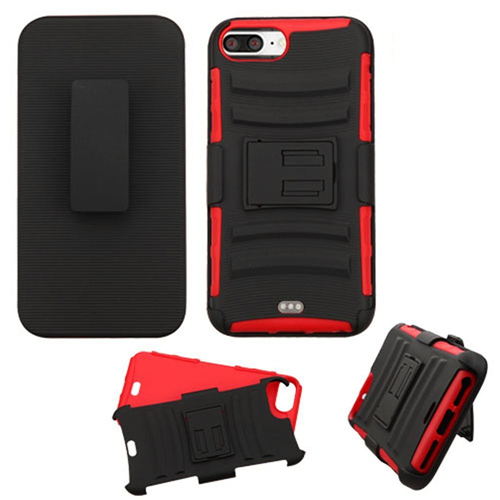 Insten Hard Hybrid Plastic Silicone Cover Case w/Holster For Apple iPhone 7 Plus/8 Plus, Black/Red