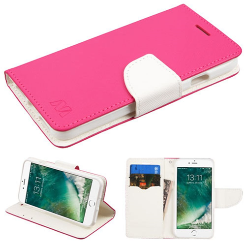 Insten Flip Leather Fabric Cover Case w/stand/card slot For Apple iPhone 7/iPhone 8, Hot Pink/White