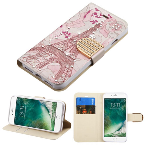 Insten Eiffel Tower Folio Leather Fabric Case w/stand/card slot For Apple iPhone 7/iPhone 8,Pink
