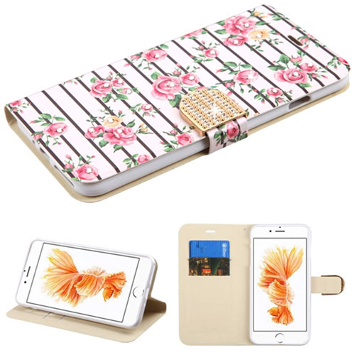 Insten Fresh Roses Leather Fabric Case w/stand/Diamond For Apple iPhone 7 Plus/8 Plus,Pink/White