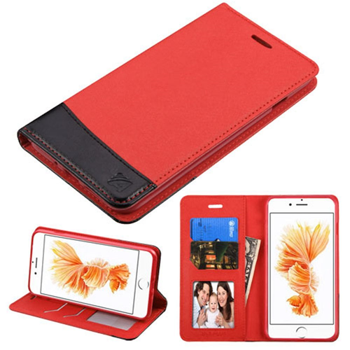 Insten Folio Leather Fabric Case w/stand/card slot For Apple iPhone 7 Plus/8 Plus,Red/Black