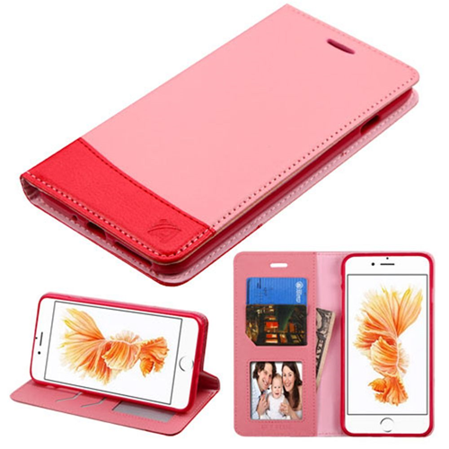 Insten Flip Leather Fabric Case w/stand/card slot For Apple iPhone 7 Plus/8 Plus, Pink/Red