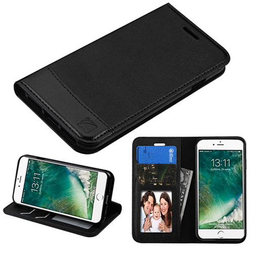 Insten Flip Leather Fabric Case w/stand/card holder/Photo Display For Apple iPhone 7/iPhone 8, Black