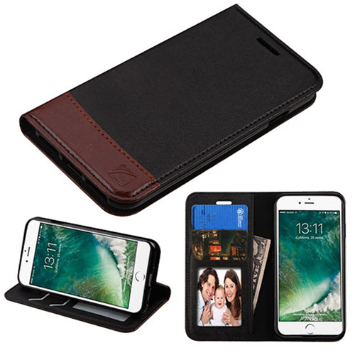 Insten Folio Leather Fabric Case w/stand/card holder For Apple iPhone 7/iPhone 8, Black/Brown