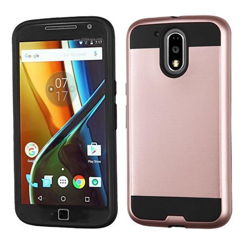 Insten Hard Hybrid TPU Cover Case For Motorola Moto G4/G4 PLUS, Rose Gold/Black