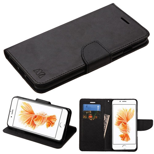Insten Flip Leather Fabric Cover Case w/stand/card slot For Apple iPhone 7 Plus/8 Plus, Black