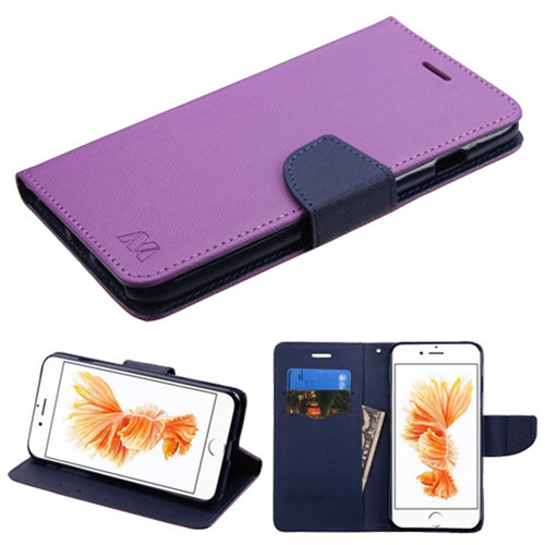 Insten Book-Style Leather Fabric Case w/stand For Apple iPhone 7 Plus/8 Plus, Purple/Blue