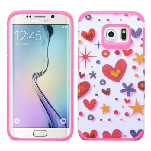 Insten Heart Graffiti Hybrid Rubber Coated Silicone Case For Samsung Galaxy S6 Edge,Hot Pink/White