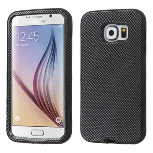 Insten Verge Carbon Fiber Hard Hybrid Rubber Coated Silicone Case For Samsung Galaxy S6, Black