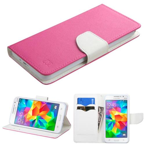Insten Folio Leather Fabric Case w/stand/card slot For Samsung Galaxy Grand Prime,Hot Pink/White