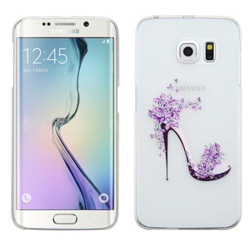 Insten High-heeled Shoes Hard Case For Samsung Galaxy S6 Edge, White/Purple
