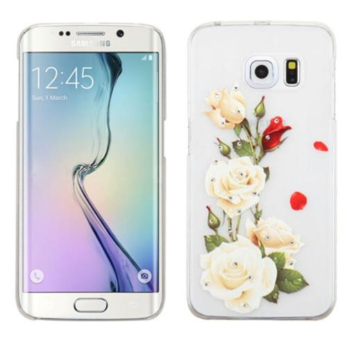 Insten Roses Hard Cover Case For Samsung Galaxy S6 Edge, White/Red