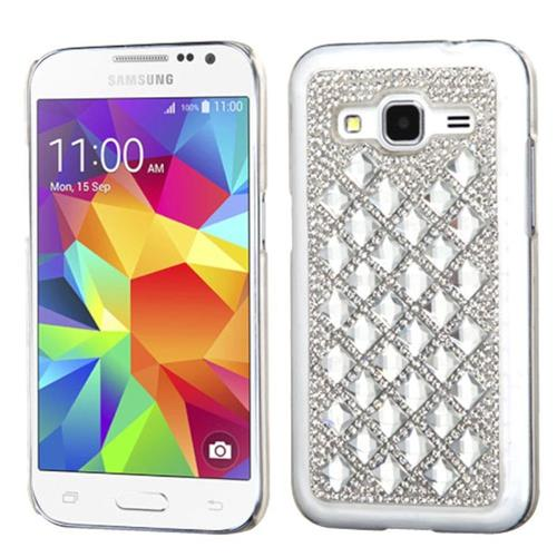 Insten Hard Rhinestone Case For Samsung Galaxy Core Prime, Silver