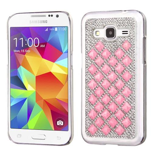 Insten Hard Bling Cover Case For Samsung Galaxy Core Prime, Silver/Pink