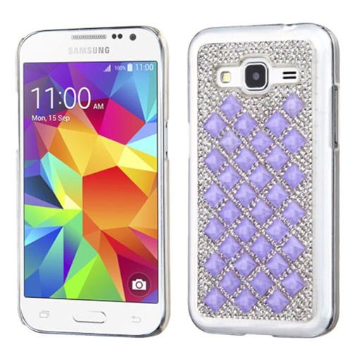 Insten Hard Diamante Case For Samsung Galaxy Core Prime, Silver/Purple