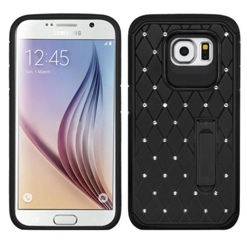 Insten Hard Hybrid Rubber Coated Silicone Cover Case w/stand/Diamond For Samsung Galaxy S6, Black