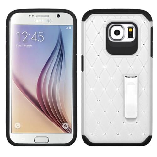 Insten Hard Hybrid Rubberized Silicone Case w/stand/Diamond For Samsung Galaxy S6, White/Black