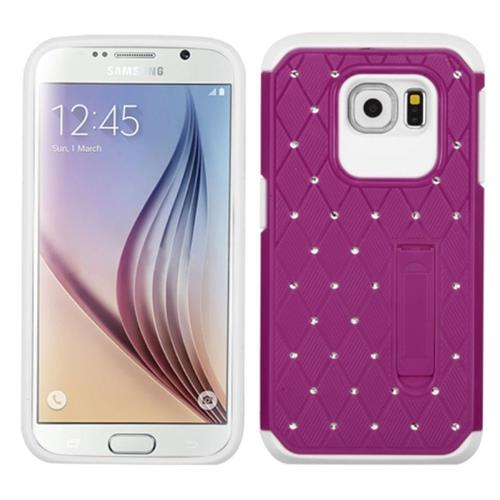 Insten Hard Hybrid Silicone Cover Case w/stand/Diamond For Samsung Galaxy S6, Purple/White