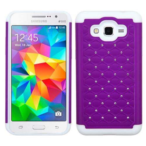 Insten Hard Hybrid Rubber Silicone Case w/Diamond For Samsung Galaxy Grand Prime, Purple/White