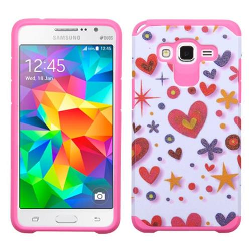 Insten Heart Graffiti Hybrid Case For Samsung Galaxy Grand Prime,Hot Pink/White