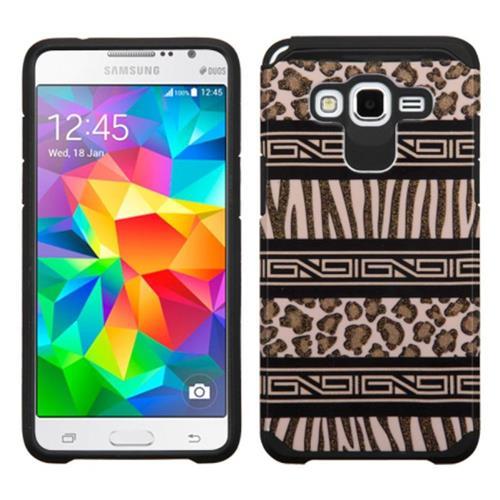 Insten Zebra Hard Hybrid Rubberized Silicone Cover Case For Samsung Galaxy Grand Prime, Brown/Black