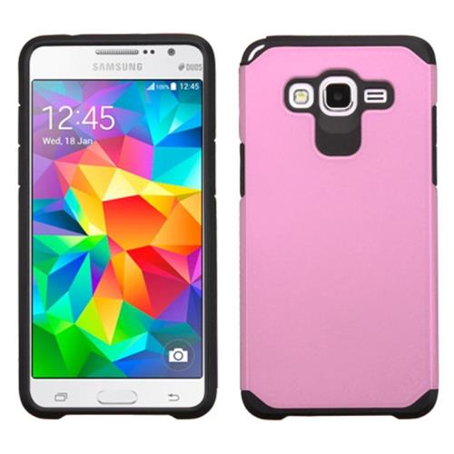 Insten Hard Hybrid Rubberized Silicone Case For Samsung Galaxy Grand Prime, Pink/Black