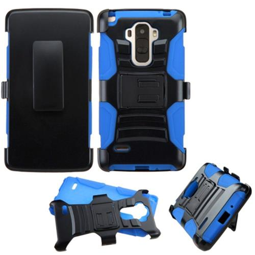 Insten Hard Dual Layer Plastic Silicone Case w/Holster For LG G Stylo, Black/Blue